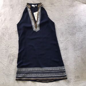 Dark blue THML dress with white boho accents